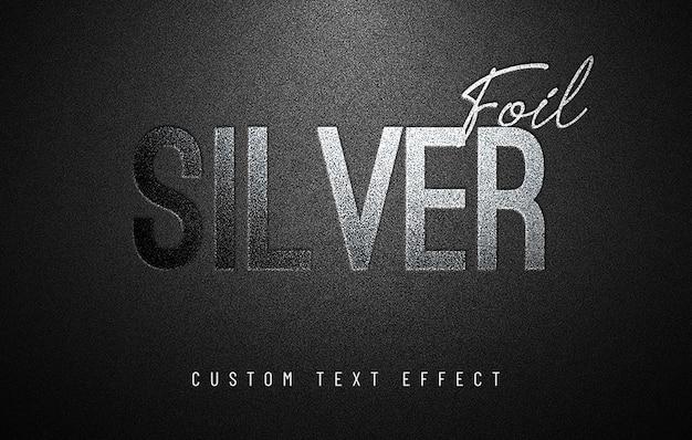 Efeito de texto personalizado em folha de prata