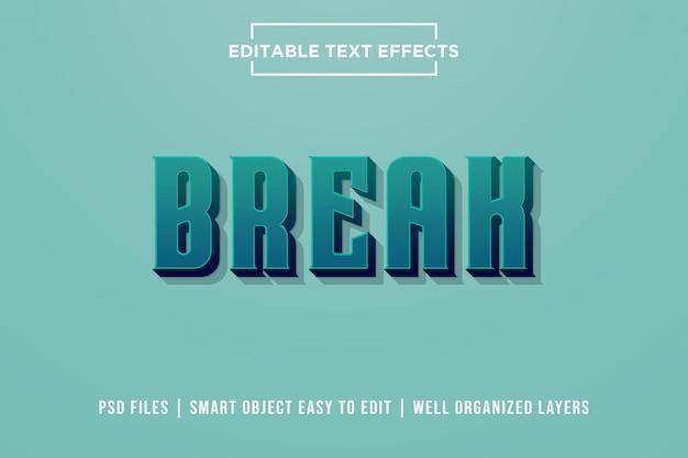 Efeito de texto premium 3d break