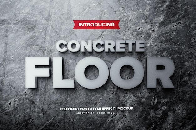 Efeito de texto premium 3d em piso de concreto