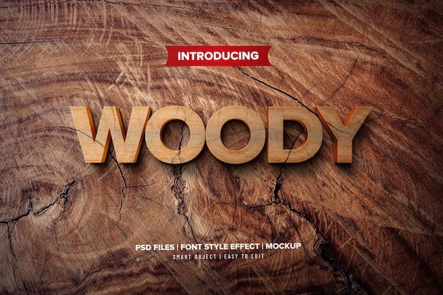 Efeito de texto premium 3d woody