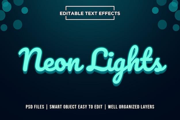 Efeito de texto premium de luzes de néon 3d