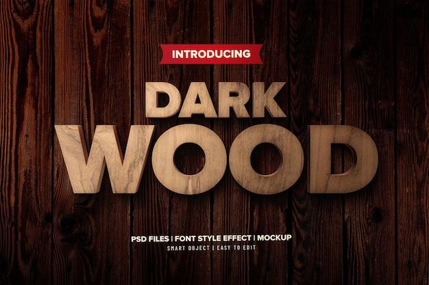 Efeito de texto premium de madeira escura