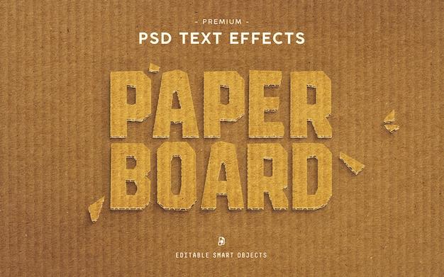 Efeito de texto premium de papelão