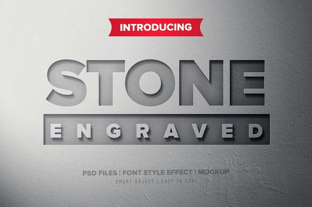 Efeito de texto premium de pedra gravada