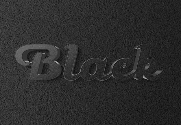 Efeito de texto preto com estilo couro 3d
