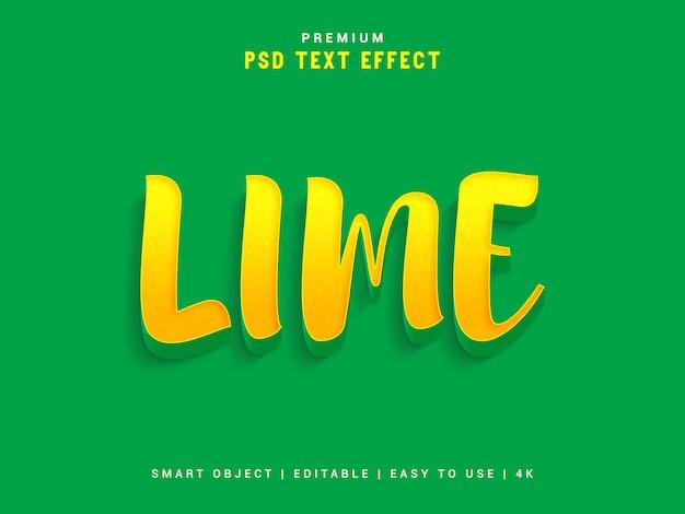 Efeito de texto psd de limão, 3d modelo realista, estilo de texto.