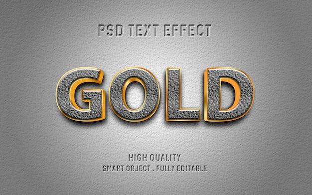 Efeito de texto realista com contorno de pedra e ouro
