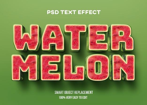 Efeito de texto realista de melancia 3d