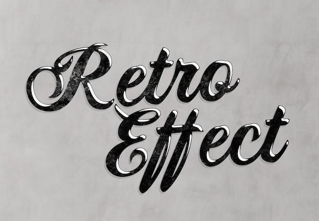 Efeito de texto retrô com maquete estilo vintage preto