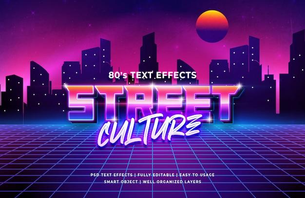 Efeito de texto retrô da cultura de rua dos anos 80