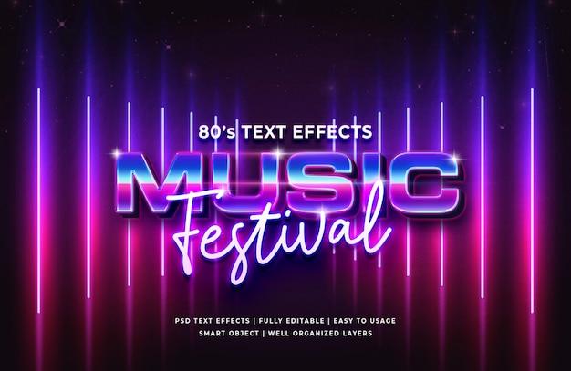 Efeito de texto retrô do festival de música dos anos 80