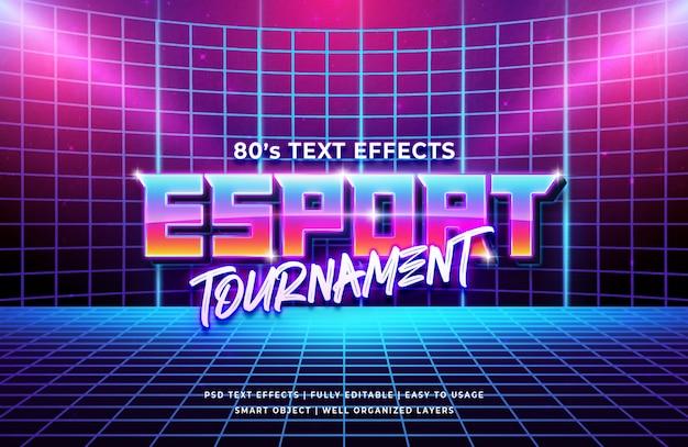 Efeito de texto retrô do torneio esport dos anos 80