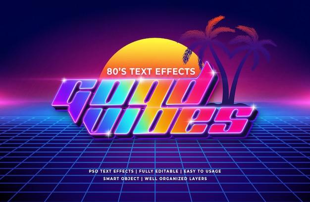 Efeito de texto retrô dos anos 80 de boas vibrações