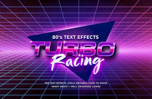 Efeito de texto retrô turbo racing dos anos 80