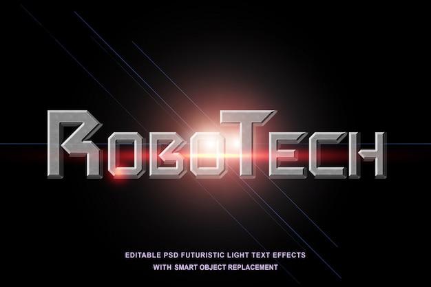 Efeito de texto robótico futurista de luz