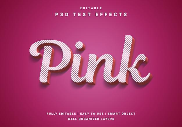 Efeito de texto rosa moderno dos namorados 3d