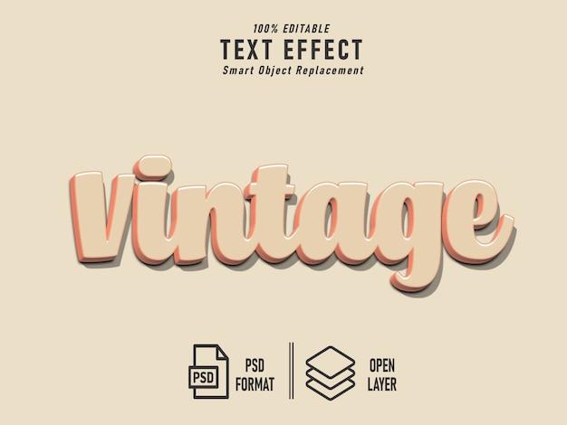 Efeito de texto sólido vintage retrô em negrito