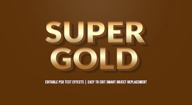 Efeito de texto super ouro premium psd