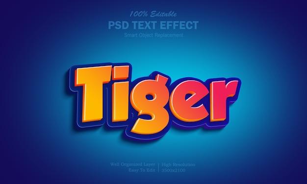 Efeito de texto tigre com gradiente amarelo e vermelho quente