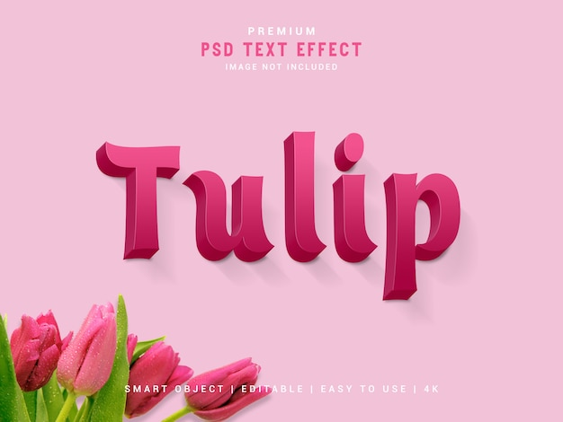 Efeito de texto tulip premium