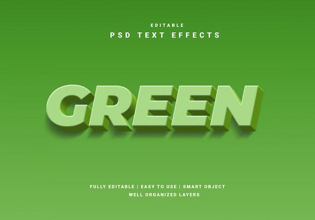 Efeito de texto verde natureza estilo 3d