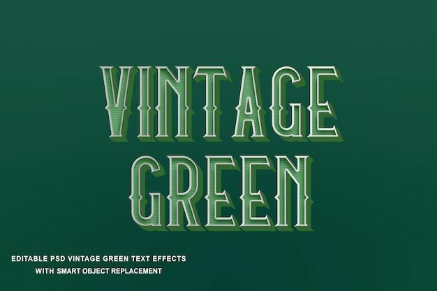 Efeito de texto verde vintage