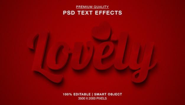 Efeito de texto vermelho 3d adorável