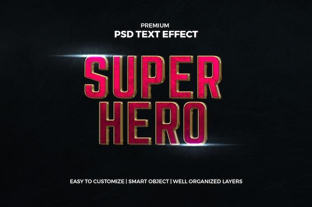 Efeito de texto vermelho cinematográfico do super-herói