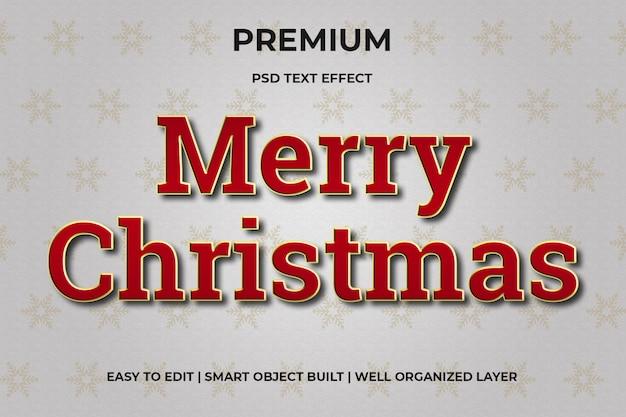Efeito de texto vermelho e dourado de natal