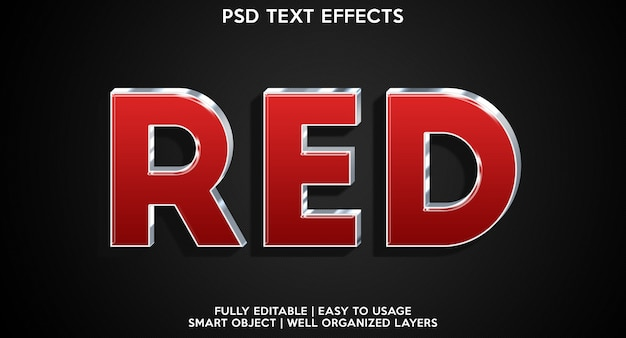 Efeito de texto vermelho moderno