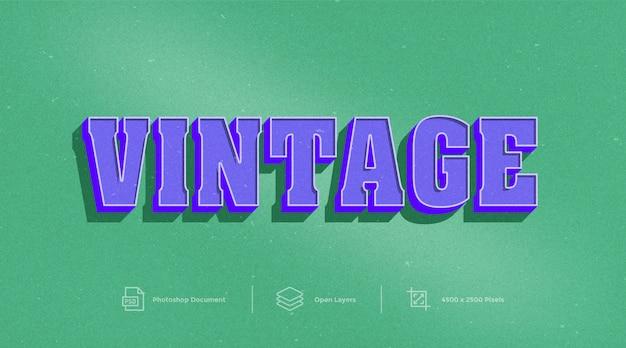 Efeito de texto vintage design photoshop layer style effect