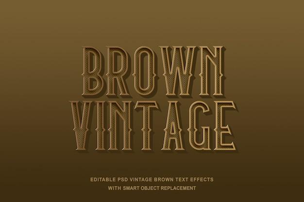 Efeito de texto vintage marrom