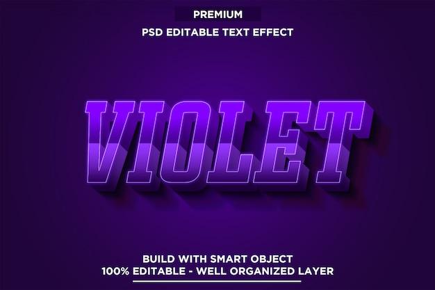 Efeito de texto violeta 3d estilo de fonte