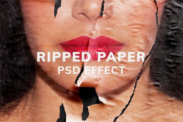 Efeito de textura psd de papel rasgado mídia remixada fácil de usar