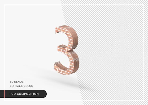 Efeito de tijolo numérico número 3 renderização 3d isolada