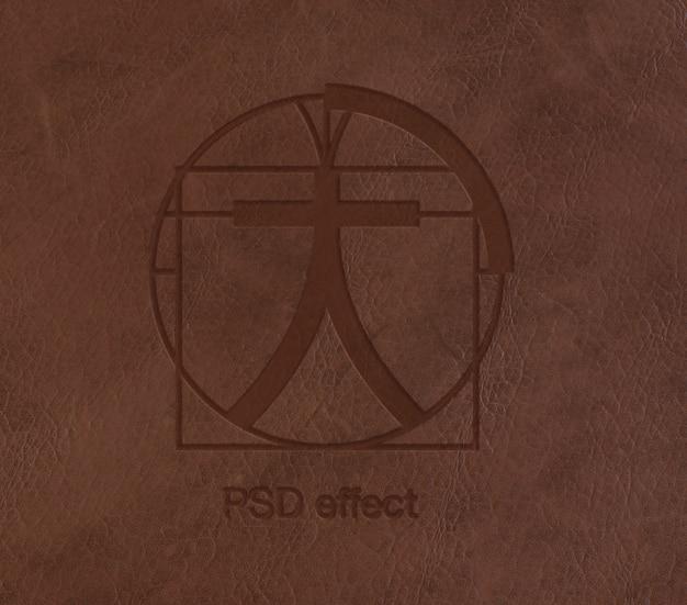 Efeito do logotipo na maquete de couro