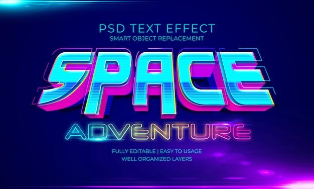 Efeito do texto da aventura espaço
