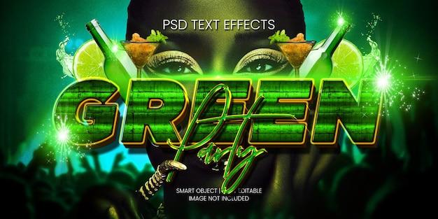 Efeito do texto da festa verde