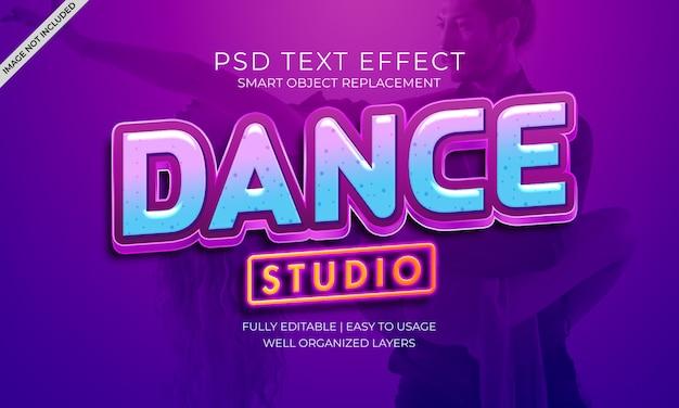 Efeito do texto do estúdio de dança