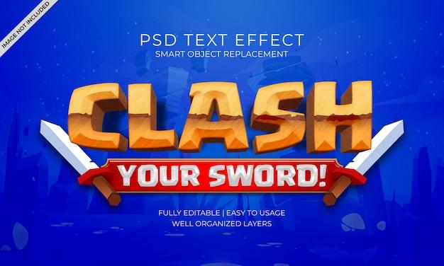 Efeito do texto do jogo de clash
