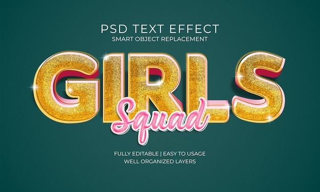 Efeito do texto do pelotão das meninas