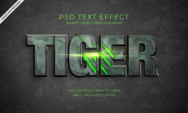 Efeito do texto do tigre