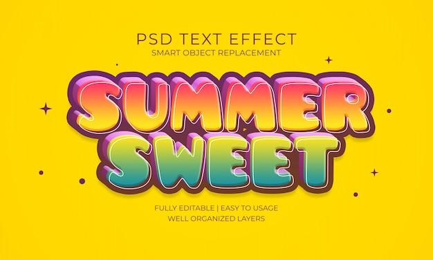 Efeito do texto doce do verão