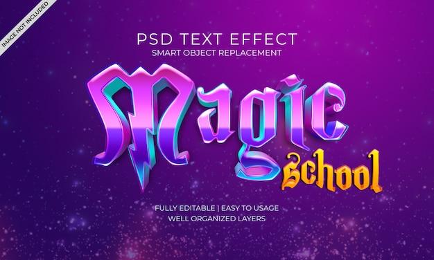 Efeito do texto na escola mágica