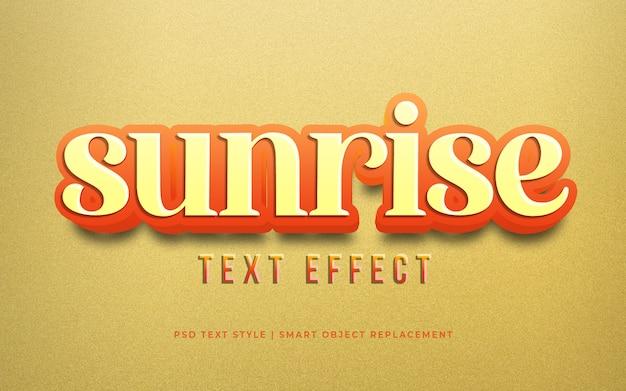 Efeito editável de tex, efeito de estilo de texto 3d brilhante amarelo do nascer do sol