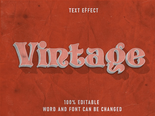 Efeito estilo estilo texto vintage fonte editável papel textura