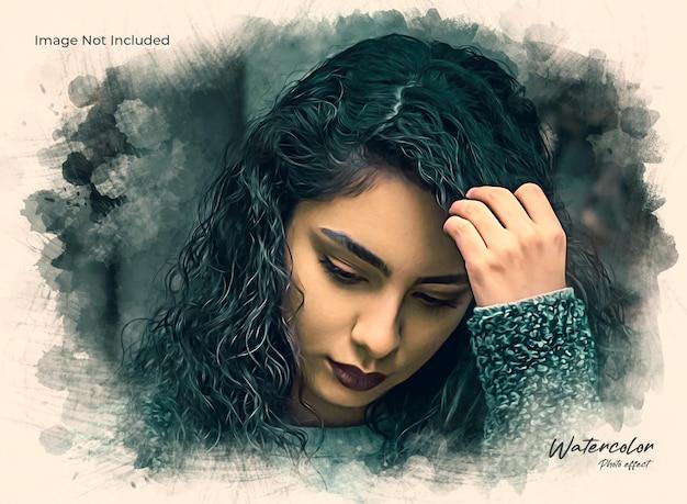 Efeito fotográfico de pintura artística com pincel de aquarela