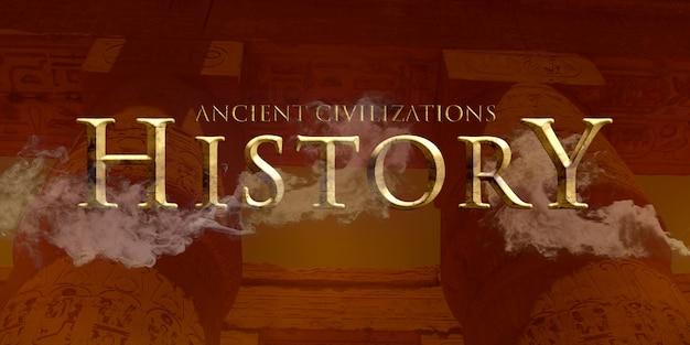 Efeito histórico estilo texto dourado
