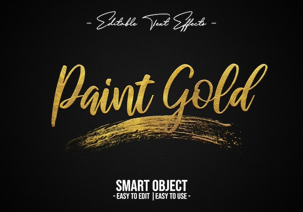 Efeito paint-gold-text-style-effect
