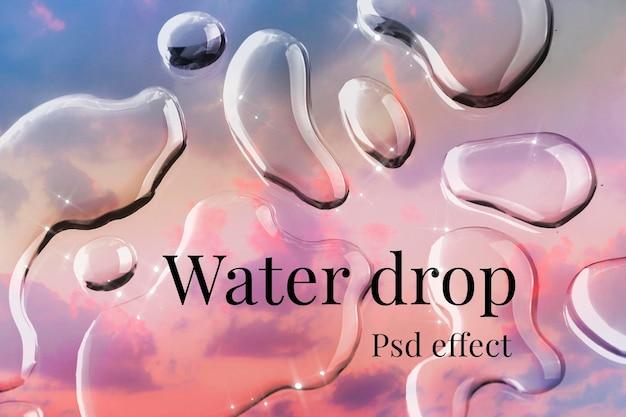 Efeito psd de textura de gota de água, complemento de sobreposição fácil